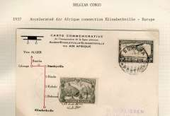 (Belgian Congo) Second Air Afrique flight, Bukama to Stanleyville, bs 18/6, Nelissen souvenir card with diagram of route, franked 65c.