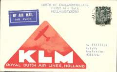 """(GB Internal) KLM, F/F Hull to Amsterdam, no arrival ds, plain airmail etiquette cover franked 4d, large orange/white triangular KLM label on the front, typed endorsement """"North of England to Holland First Air Mail  Hull-Amsterdam."""