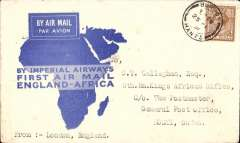 (GB External) Imperial Airways F/F London to Kosti, Sudan, bs 8/3, via Khartoum 7/3, flown on the inaugural England-East Africa service, blue/white souvenir 'map' cover franked 5d.