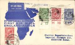(GB External) Imperial Airways, London to Khartoum, b/s, flown on F/F Croydon/Mwanza, official blue map cover, nice IAW House cachet verso, Imperial Airways.