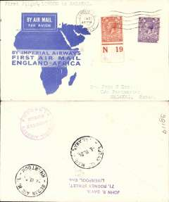 (GB External) Imperial Airways, London to Malakal, bs 8/3, via Khartoum 7/3, flown on the inaugural England-East Africa service, blue/white souvenir 'map' cover franked 5d, nice IAW House cachet verso.  Uncommon destination.