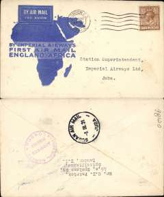 (GB External) Imperial Airways F/F London to Sudan, bs Juba 8/3, flown on inaugural England-East Africa service, blue/white souvenir 'map' cover franked 5d, nice IAW House cachet verso.