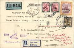 "(Sudan) Imperial Airways, Khartoum to Kampala bs 11/3, via Kisumu 10/3, registered (label) G.T.Callaghan, 6th Bn. East Africa Rifles printed souvenir cover, franked 2P 25ml,  violet ""Khartoum to Mwanza"" cachet. Nice item, unusual."