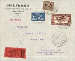(Egypt) Imperial Airways, F/F Alexandria to Khartoum, bs 7/3, registered (label) Frangakis commercial corner cover, franked 27ml air + 3ml ordinary, pale blue/white airmail etiquette.