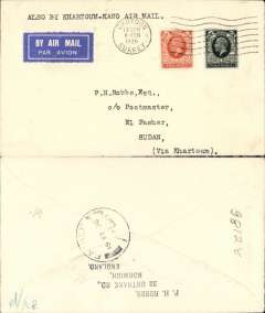 (GB External) Imperial Airways new Khartoum to Kano service, F/F London to El Fasher, bs 15/2, etiquette, plain cover.