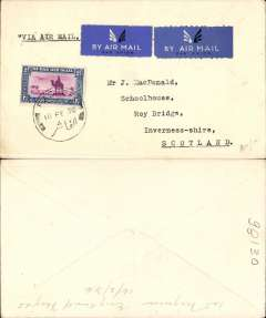 (Sudan) Imperial Airways, first northbound feeder service to carry mail, El Fasher to London, and on to Kirkwall, no arrival ds, plain airmail etiquette cover franked 2 1/2 mls.