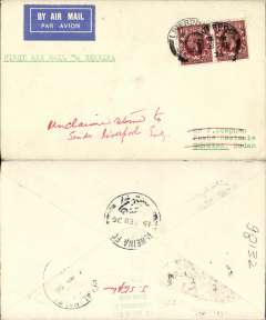 (GB External) Imperial Airways new Khartoum to Kano service, F/F London to Geneina, bs 15/2, plain cover franked 3d.