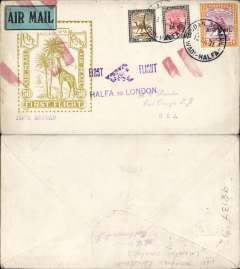 "(Sudan) First acceptance of mail from Sudan for USA for carriage on Imperial Airways inaugural East Africa-England service, Wadi Halfa to East Orange, New Jersey, no arrival ds, flown Wadi Halfa to London, violet ""First Flight/Halfa to London"" biplane F/F cachet, no arrival ds but red double bar Jusqu'a (Mcqueen p228) cancelling airmail etiquette, applied in London to signify end of carriage by air, scarce Roessler yellow/olive ""London to Cape/Air Mail/First Flight"" envelope, ref ROE.FF5, illustrated p91 Newton, franked 10m & 2P 1931 air opts (Cat £18.50) and 5m ordinary. Uncommon final destination since only 154 were flown to London."