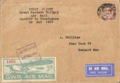 """(GB Internal) F/F first official airmail, Great Western Railway extension to daily air service, Cardiff to Birmingham, posted on arrival Birmigham 22/5 cds over GV 1 1/2d, pale blue-green/white GWR 3d Air Stamp tied by framed 'Cardiff C entral/22 May 33/GWR cachet, typed """"Great Western Railway/Last Air Mail 1933/Plymouth to Cardiff"""". Francis Field authentication hs verso."""