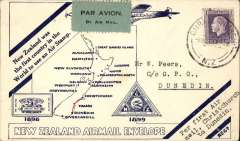 (New Zealand) Air Travel, inauguration of Daily Service, Christchurch to Dunedin, bs 6/11,  blue/white souvenir cover with map of route, NZAMS Expert Committee expertisation hs verso. Few faint tone spots verso, otherwise fine.