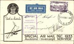(New Zealand) First Non Stop Auckland to Invercargill, franked 4d, violet boxed cachet, bs 12/12, printed black/white souvenir cover with CTP Ulm inset, per Faith In Australia. Signed by the pilot G.U.Allan.