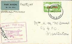 (New Zealand) Air Travel Ltd, Wellington-Danneverke survey flight, Danneverke to Masterton, bs 16/3, 3d air stamp, red cachet. Signed by the pilot M.C. McGregor.