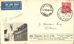 (New Zealand) F/F Hokitika to Okuru, arrival ds on front, souvenir cover with inset of picture of pilot standing by plane, franked 1d, Air Travel Ltd. Signed by the pilot J.C. Mercer. Few faint tone spots top edge.