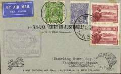 "(Australia) ""Faith in Australia"", first official airmail Australia-New Zealand, bs Christchurch 12/4, special black/grey Kookaburra cover correctly rated 7d, canc Leeton, violet winged ""First Official Air Mail"" Australia-New Zealand flight cachet."