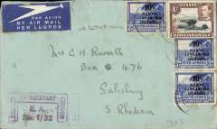 "(Kenya) WWII censored cover to Southern Rhodesia, franked 1/- KUT and South Africa 3d KUT optd x3, magenta signed East Africa Command ""Passed/By Military/Censor/E.A. No I/32"" censor mark."