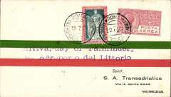 """(Italy) Pathfinder flight, a red/green/cream cover produced in Italy to welcome the arrival of  William and Yancey in their Bellanca monoplane """"The Pathfinder"""" after their flight from Old Orchard Beach, Maine to Rome, franked 75c, canc Roma Aeroporo/10.7.29 cds with purple two line """"Arrival-day of Pathfinder/a. Aeroporto del Littorio"""" cachet, sent to Venice bs 12/7."""