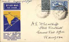 (India) F/F Calcutta to Rangoon, bs 1/10,  yellow/blue official cover,franked 3a 3p, violet three line 'dumbell' F/F cachet verso, Imperial Airways/ITCA.