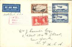 "(New Zealand) Capt. Musik ""Samoan Clipper"", Pan Am Auckland-San Francisco survey flight, bs 6/1/38, plain cover franked 4/6, red boxed cachet, par avion etiquette."