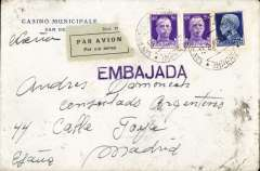 """(Italy) Registered (label) Embassy cover, San Remo to Madrid, bs, Casino Municipale corner cover franked 2.25c, black/white airmail etiquette, fine strike purple """"Embajada"""" hs on front."""