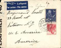 (Switzerland ) WWII censored airmail cover, Baulme to New Jersey, airmail etiquette cover franked 1F70, sealed OBE 746 Bermuda censor tape. Ironed vertical crease.