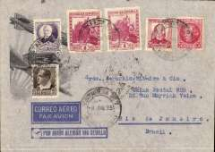 """(Ship to Shore) Spanish acceptance for carriage by German North Atlantic catapult, Barcelona to Brazil, bs 11/6, franked Spanish 4Px2 and 80c, uncommon black/red/grey imprinted """"Por Avion Aleman Via Sevilla"""" blue/black/grey envelope with momoplane and Zeppelin against rays of sun in bottom lh corner, frame omitted with blue printed labels, see  Frost E2b (cover alone catalogued $80 on catapult flight)."""