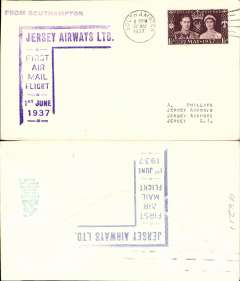 "(Channel Is) Jersey Airways Ltd, F/F Southampton to Jersey plain cover franked 1 1/2d, violet angular Southampton F/F sender cachet on front and blue angular Jersey F/F receiver cachet verso, also violet straight line ""From Southampton"" hs."