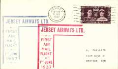 (Channel Is) Jersey Airways Ltd, F/F Southampton to Jersey plain cover franked 1 1/2d, red angular F/F cachet and blue angular Jersey F/F receiver cachet on front .
