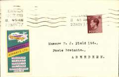 """(GB Internal) Channel Is, Allied Airways (Gandar Dower) Ltd, F/F Lerwick to Aberdeen, bs 3.15pm 23 Nov 1937, plain cover franked KE VII 1 1/2d, canc Lerwick 8.45 am 23 Nov 37 cds. A green/yellow/purple """"Aberdeen Airways"""" vignette has been added to the front.  Aberdeen airport (Dyce) is the connection between this scarce vignette and the flight . The vignette is one of only two types produced by this short lived company, which was founded by Eric Gander Dower in January 1934, having first launched Aberdeen Aero Services in 1930."""