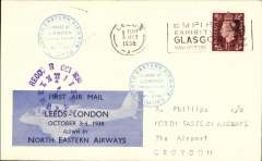 (GB Internal) North Eastern Airways, F/F Leeds to London, RECD 3 Oct 1938 clock face receiver, plain cover franked 1 1/2d, Leeds-London company vignette tied by blue double ring company cachet 'North Eastern Airways Ltd'.