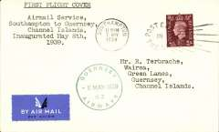 "(Channel Is) Guernsey Airways, F/F Southampton to Guernsey, typed five line ""Airmail Service/Southampton to Guernsey/Channel Islands/inaugurated May 8th/1939"", green circular ""Guernsey Airways 8 May 1939"" Type 5 receiver on front, plain etiquette cover franked 1 1/2d."