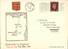 (Channel Is) Guernsey Airways, F/F Guernsey to England, no arrival ds, franked 1 11/2d, canc 'Guernsey 5am 22 May 1939', illustrated Martin cover.