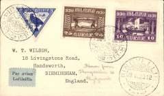 (Iceland) Special flight to celebrate the Icelandic parliament's 1000th year, Thingvallavatn to Reykjavik, bs 28/6, plain cover franked 10a, 25, and 10a air (Stanley Gibbons numbers 161, 164 and 173 - adhesives alone catalogue £46), special postmark, black/pale blue airmail etiquette.£45.00