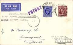 "(GB External) Imperial Airways first London to Cologne stage of F/F London-Budapest, plain cover franked 4d, returned to London 1/5, typed ""Imperial airways/First Flight London-Budapest/London-Cologne stage""."
