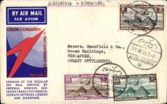 "(Egypt) Scarce F/F Alexandria to Singapore, no arrival ds, carried on Imperial Airways/Indian Trans-Continental Airways extension to Singapore via Bangkok and Alor Star, official red/white/blue souvenir cover franked 5ml,10ml, and 80ml airs on front and 5ml air verso, canc Alexandria cds, typed ""Alexandria -Singapore"". Scarce leg. 1cm closed top edge tear."