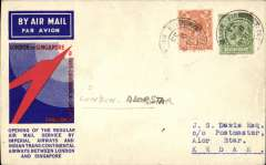(GB External) F/F London to Alor Star, bs 21/12, via Bangkok 18/12 transit cds, carried on Imperial Airways/Indian Trans-Continental Airways extension to Singapore via Paris, Cairo, Karachi, Calcutta and Rangoon, official red/white/blue souvenir cover franked KGV 2d and 9d. Scarce.