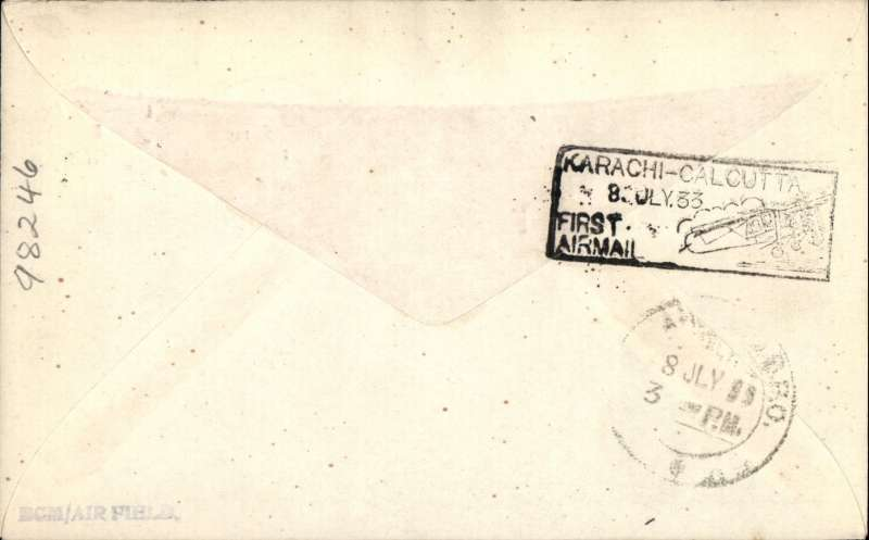 (GB External) Imperial Airways/Indian Trans-Continental Airways London to Allahabad, b/s 8/7, carried on F/F Karachi to Calcutta Extension, black boxed flight cachet (verso), official three colour souvenir cover, franked GV 2d and 6d.