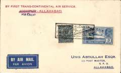 """(India) Imperial Airways/Indian Trans-Continental Airways Karachi to Allahabad, bs 11/7, carried on F/F Karachi to Calcutta, black boxed """"Karachi-Calcutta First Flight"""" cachets front and verso, printed souvenir cover """"Jodhpur (crossed out and Karachi inserted by hand) - Allahabad"""", franked 3a 3p. Uncommon."""