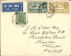 """(India) F/F Calcutta to London flown IW 223, the first westbound service after extension of route from Karachi to Calcutta (see Wingent), black boxed """"Calcutta-Karachi/11 Jly 33/First Airmail"""" cachet (verso), no arrival ds, plain cover franked 9 1/2 annas, India Trans-Continental Airways/Imperial Airways. Small mail."""