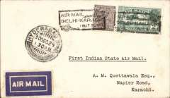 """(India) Indian State Air Service, F/F Hyderabad to Karachi, bs 3/12, carried on the Indian Air Service F/F Karachi-Delhi, plain cover franked 3 anna, black boxed """"Air Mail/Delhi-Karachi/First Flight"""" cachet, 1929 etiquette rated very scarce by Mair. Small mail from Hyderabad. Map of route included with this item."""