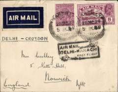 (India) India State Air Service/Imperial AW F/F Delhi-London, carried 1st return of Delhi-Karachi service, then Imperial AW to London, nice strike black 'Air Mail/Delhi-Karachi/First Flight' rectangular boxed flight cachet, 1929 etiquette rated scarce by Mair, lain cover franked 10 annas to include the extra air fee of 2 annas.