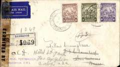 "(Barbados) Censored World War II registered airmail cover to San Antonio, USA at 1/9d rate (Stanley Gibbons numbers 252b, 254 & 255). transparent ""Examined by/9808"" censor sealing sellotape at left, wide variety of back stamps including postmaster initialled dispatch purple cachet, Trinidad transit (4 Feb), Miami transit (6 Feb), San Antonio arrival (13 Feb) & then re-directed via New York (17 Feb) to Los Angeles (transit & arrival of 21 & 22 Feb). Usual minor transit imperfections but a lovely censored item at a good rate with a fine array of marks & in good condition for one so well travelled."