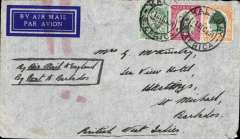"(Barbados) Incoming cover at 7½d rate from Kalk Bay, South Africa endorsed ""by air mail to England/by boat to Barbados"" to St. Michael. some imperfections/wear at edges but an interesting commercial item."