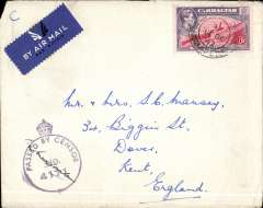 "(Gibraltar) Censored airmail cover to Dover, England franked 6d (Stanley Gibbons number 126b), adhesive tied by part field post office cds. with circular crowned ""Passed by Censor/no./4171"" signed cachet at bottom left. Some creasing & torn vertically where opened reverse but a useful World War II item."
