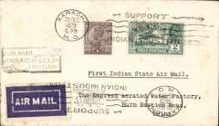 """(India) Inauguration of India State Air Service, F/F Karachi to Delhi, black boxed """"Air Mail/Karachi-Delhi/First Flight"""" cachet, plain cover franked 3 annas, 1929 etiquette rated very scarce (Mair), typed 'First Indian State Air Mail'."""