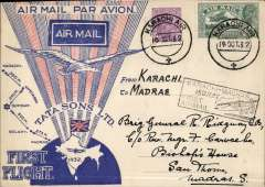 (India) TATA & Sons Ltd, F/F Karachi-Madras, bs 16/10 carried on inaugural Karachi to Madras service, black boxed ' Karachi-Madras/15 Oct 32/First Airmail'  flight cachet on front, special TATA souvenir cover with red rays and Union Jack, franked 3 annas 3p, canc Karachi Air cds. Signed Stephen Smith verso.