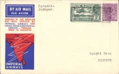 """(India) Karachi to Jodhpur, bs 8/7, carried on F/F Calcutta to Karachi, bs """"Areodrome/Sanghi Bros/Jodhpur"""", official red/white/blue souvenir cover franked  3annas 3p, canc black boxed """"Karachi to Calcutta/7 Jul 33/First Air Mail' cachet, Imperial Airways/Indian Trans-Continental Airways. Rare stage. A map of the route accompanies this item."""