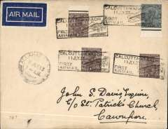 """(India) Allahabad-Cawnpore, bs Jul 11th, carried on first return of ITCA Trans Indian flight from Calcutta via Asansol, Allahabad, Cawnpore, Delhi and Jodhpur to Karachi, plain buff cover franked 3A 3p, canc black boxed """"Calcutta-Karachi/11 Jly 33/First Airmail"""" cachet, also Allahabad GPO cds on front, dark blue/white airmail etiquette rated scarce by Mair, Imperial Airways/ITCA. A map of the route accompanies this item."""