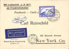 "(Airship) First Trans-Atlantic crossing of the Graf Zeppelin to Lakehurst, New York 16/10 arrival ds on front, oval blue flight cachet, printed ""Mit Luftschiff LZ 27/ab Friedrichshafen"" souvenir card franked 2Rm Zeppelin stamp (Stanley Gibbons number 444 - adhesive alone catalogues £47), tied Fried. cds. Si 21A"
