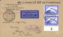 (Airship) First Trans-Atlantic crossing of the Graf Zeppelin to Lakehurst, New York bs 16/10, oval blue flight cachet, commercial corner cover franked 2Rm x2 Zeppelin control pair stamps (Stanley Gibbons number 444 - adhesives alone catalogues £94), tied Fried. cds. Si 21A. A neat hand drawn map of the route accompanies this item.