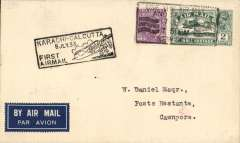 (India) England-India extension from Karachi to Calcutta by India Trans-Continental Airways, New Delhi to Cawnpore, bs 8/7, carried from Karachi to Calcutta via Jodhpur, Delhi, Cawnpore,  Allahabad and Asansol, plain cover franked 3 annas 6p,  also black boxed 'Karachi-Calcutta/8 JUL 33/First Airmail' cachets front and verso.